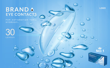 myopia: Eye contacts ads template, aqua plus contact lenses with water and air bubbles. Product ads and package design in 3d illustration. Illustration