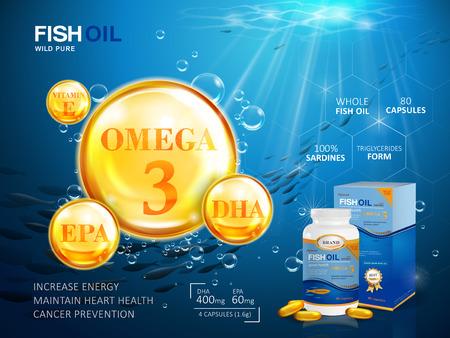 Pescados plantilla de anuncios de petróleo, ácidos grasos omega-3 de gelatina blanda con su paquete. Fondo profundo mar. Ilustración 3D.