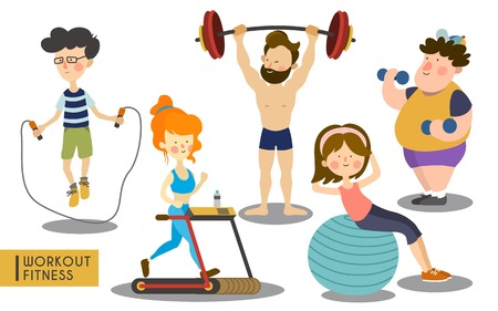 several people working out and sweating during the process, white background Illustration