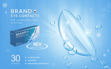 Eye contacts ads template, aqua plus contact lenses with water and air bubbles. Product ads and package design in 3d illustration. Illustration