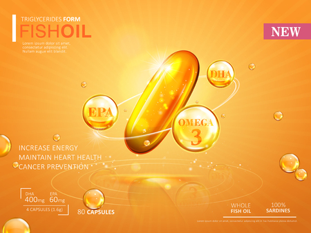 Fish oil ads template, omega-3 softgel isolated on chrome yellow background. 3D illustration.