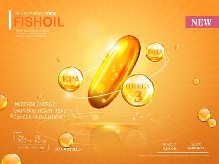 Pescados plantilla de anuncios de petróleo, ácidos grasos omega-3 cápsula blanda aisladas sobre fondo amarillo de cromo. Ilustración 3D. Ilustración de vector