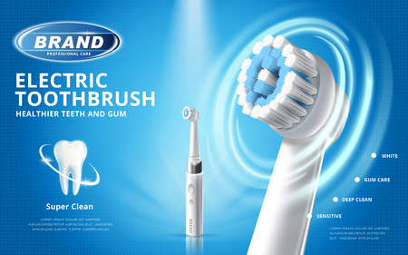 Electric toothbrush ads, different mode of this product with white tooth model on blue background in 3d illustration Vektoros illusztráció