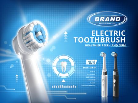 電動歯ブラシの広告、3 d の図で青の背景に白い歯モデルでこの製品の別のモード選択のための黒と白のブラシ
