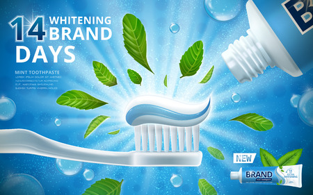 Whitening toothpaste ads, mint leaves flavour toothpaste on toothbrush with sparkling effect on the background in 3d illustration Ilustração