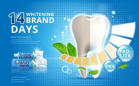 Whitening tandpasta advertenties, voor en na effect op je tanden op een blauwe achtergrond in 3D-afbeelding Vector Illustratie