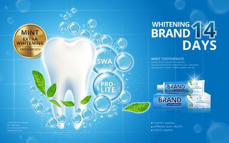 Blanchiment annonces de dentifrice, dent blanc pétillant de feuilles de menthe et des bulles isolées sur fond bleu 3d illustration