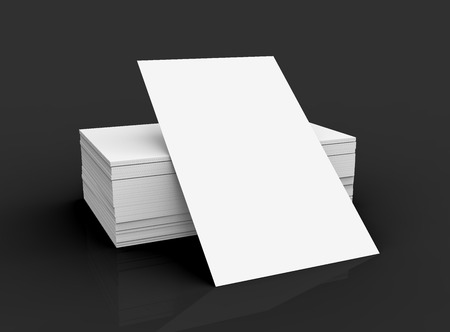 Stack Of Business Card Template Blank Unfilled For Edited Isolated On Black Background Stock