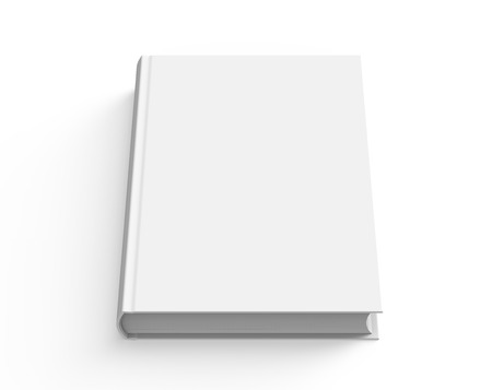 Blank hard cover book template, blank book cover for design isolated on white background, 3D rendering Stock Photo