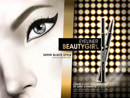 stage makeup: eyeliner beauty girl advertisement with eye close up and golden light elements, 3d illustration Illustration