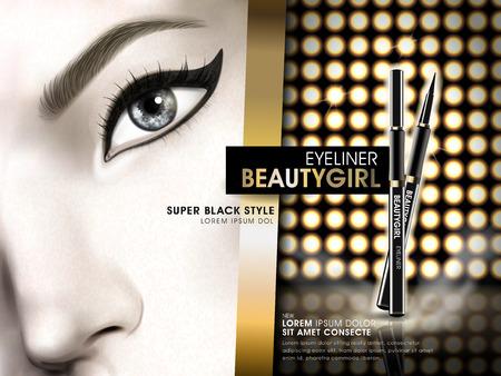 eyeliner beauty girl advertisement with eye close up and golden light elements, 3d illustration Illustration
