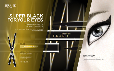 glowing skin: super black eyeliner advertisement with eye close up and golden light elements, 3d illustration