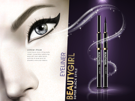 glowing skin: eyeliner beauty girl advertisement with eye close up and golden light elements, 3d illustration Illustration