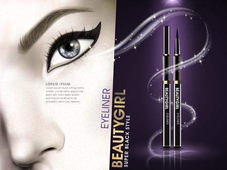 eye close up: eyeliner beauty girl advertisement with eye close up and golden light elements, 3d illustration Illustration