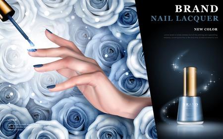 繊細な手、青いバラ要素およびバラ色の背景、3 d イラストレーションにネイル ラッカー ボトル