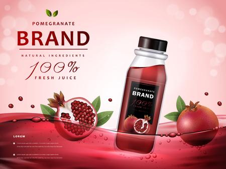 Annunci del succo del melograno, succo delizioso e frutta in succo rosso, illustrazione 3d