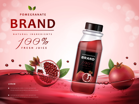 Pomegranate juice ads, delicious juice and fruit in red juice, 3d illustration