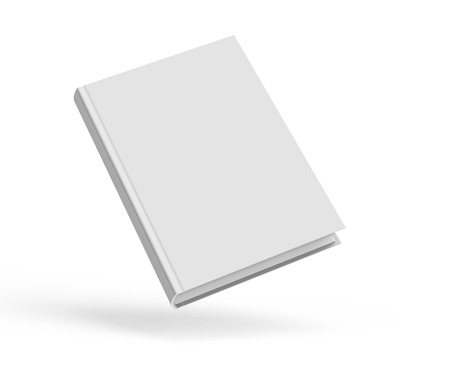 Blank hard cover book template, blank book cover floating in the air for design isolated on white background, 3D rendering