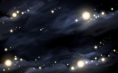 Beautiful starry night background, sparkling stars isolated on dark blue backdrop
