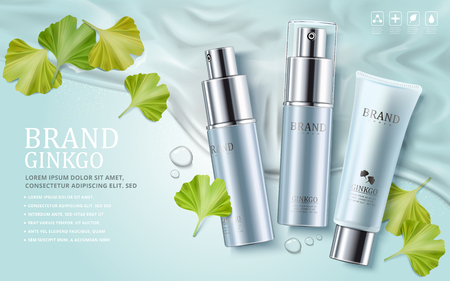 Ginkgo cosmetic ads, plastic tube and spray bottles with ginkgo biloba leaves on water background, 3d illustration Ilustrace