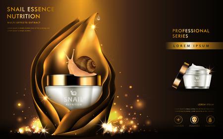 Extracto de caracol anuncios cosméticos, esencia natural en hermoso contenedor cubierto de hojas doradas aisladas sobre fondo marrón en 3d ilustración