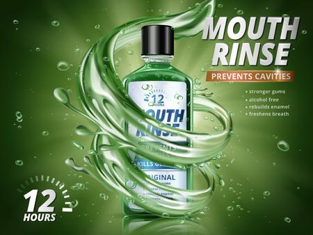 口すすぎ広告アクア要素と水のしぶきとさわやかなマウスウォッシュ製品 3 d 図では、緑の背景の削除します。