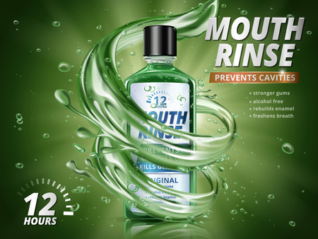 Mouth rinse ads, refreshing mouthwash product with splashing aqua elements and water drops in 3d illustration, green background