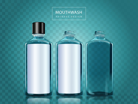 enjuague bucal: Mouthwash package design, three bottles with blank space for edit and design, 3d illustration isolated on transparent background