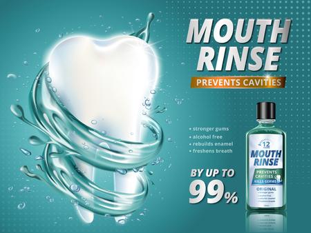 口すすぎの広告、さわやかなマウスウォッシュ製品 3 d イラスト、ターコイズ ブルーの背景でクリーンな液体に囲まれた巨大な健康な歯モデル