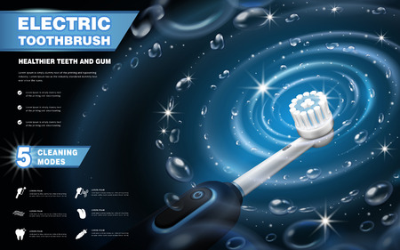 Electric toothbrush ads, vibrant brush with whirlpool effects isolated on dark blue background in 3d illustration, 5 cleaning modes Illustration
