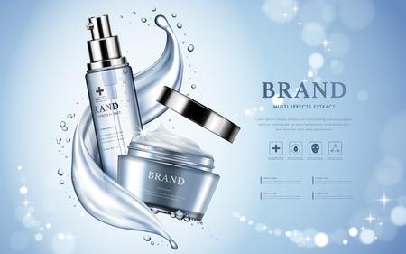 Hidratación de productos cosméticos anuncio, bokeh de fondo azul claro con bellos recipientes y textura acuosa en 3d