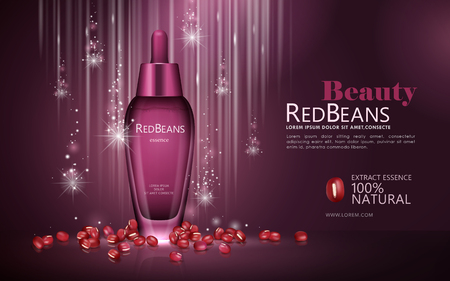 Red beans essence ads, natural droplet bottle with beans and glittering background in 3d illustration Illustration