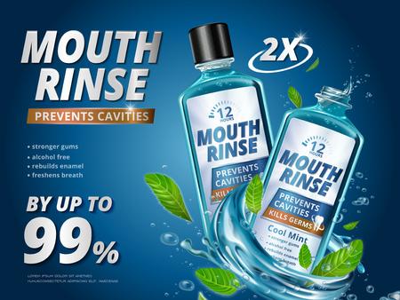口すすぎ広告、さわやかなミントの葉のマウスウォッシュと 3 d の図の液体のしぶきの青色の背景  イラスト・ベクター素材