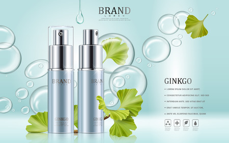 Ginkgo cosmetic ads, blue spray bottles with ginkgo biloba leaves and clear essence drop, 3d illustration