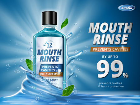 Mouth rinse ads, refreshing mouthwash product with splashing aqua elements and mint leaves in 3d illustration, blue background