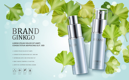 Ginkgo anuncios de cosméticos, botellas de spray de color azul aislado en el fondo bokeh con hojas de ginkgo biloba, ilustración 3d
