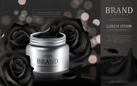 Cream cosmetic ads, silver cream container with black roses petals isolated on black bokeh background, 3d illustration