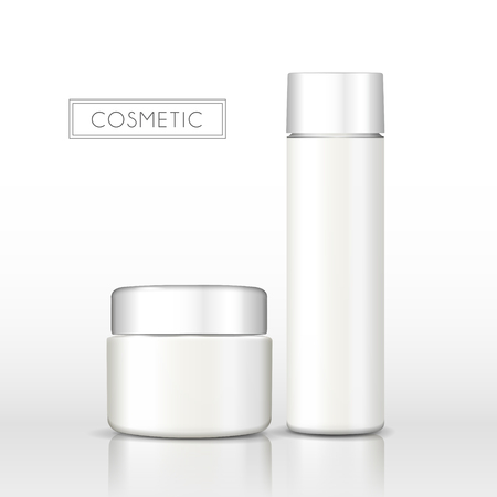 Blank cosmetic bottle, two container without label and brand name in 3d illustration