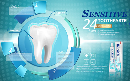Sensitive toothpaste ads, long lasting toothpaste for dental treatment with tooth model and product package isolated on blue dotted background in 3d illustration