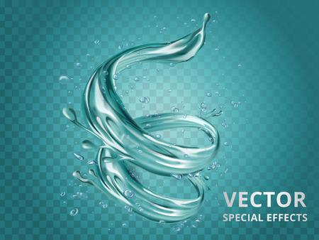 Éléments aqua dynamiques, effet modifiable spécial pour la conception en illustration 3d