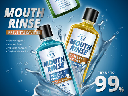 Mouth rinse ads, refreshing mouthwash products in different flavor with splashing aqua elements in 3d illustration, blue background