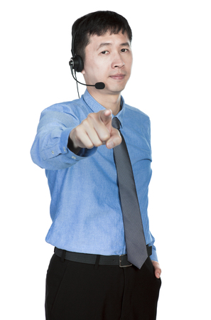 operator pointing to his front with a finger, white background