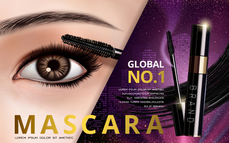 eye 3d: mascara design picture, with single bright eye and eyelash for advertising use, 3d illustration Illustration