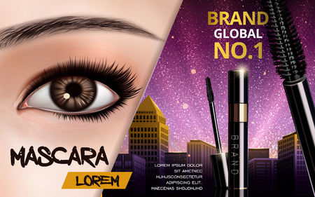 mascara design picture, with single bright eye and eyelash for advertising use, 3d illustration Illustration