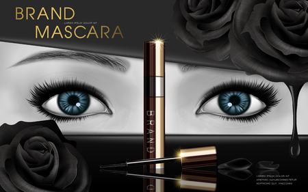 mascara design picture, with blue eyes and black rose flower elements for advertising use, black and white picture, 3d illustration Illustration
