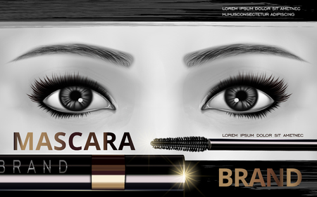 bright eyes: mascara design picture, with bright eyes, brush and container bottle for advertising use, black white picture, 3d illustration Illustration