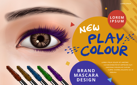 mascara design picture, with bright left eye, eyelash and colorful brushes for advertising use, 3d illustration