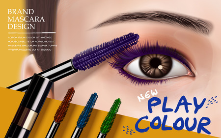 mascara design picture, with bright right eye, eyelash and colorful brushes for advertising use, 3d illustration Illustration