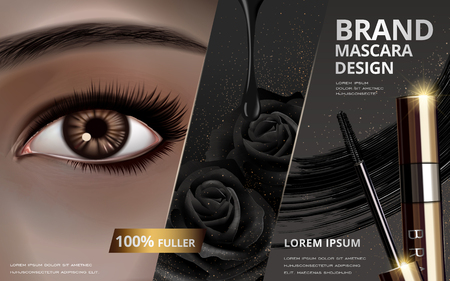 mascara design picture separated into three parts, with an single eye at the left, black rose at center and brush at right, 3d illustration