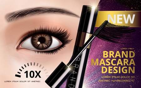 mascara design picture, with single bright eye, container bottle and eyelash, 3d illustration